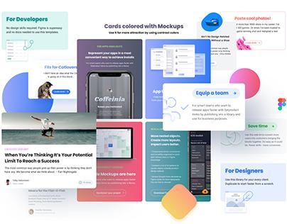 Cards UI design for landing web sites