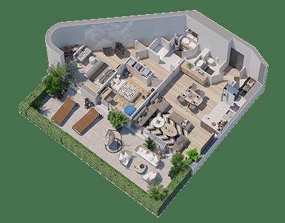 plan de vente 3D architectural