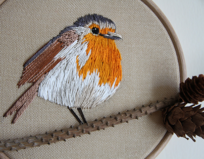 embroidery robins