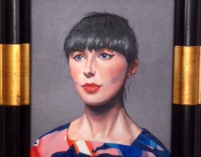 The artist Rachel Maclean oil on canvas board