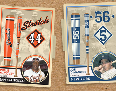 Custom Designed Baseball Bats on Vintage Topps Cards