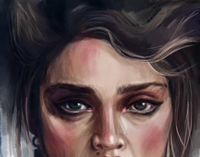 Digital sketch|portrait. Young Madonna