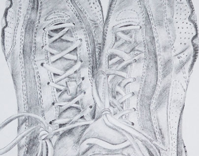 "Sneakers, 12 x 9"" Pencil on Paper"