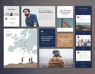 Blue Tent ui kit | Travel blog UI components