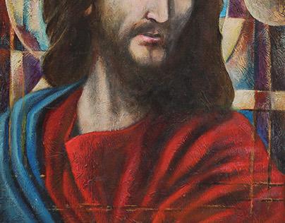 Jesus 70x90 Acrilycs on wood