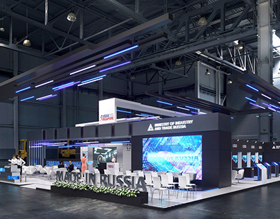 Complex exhibition stand for the Minpromtorg Russia