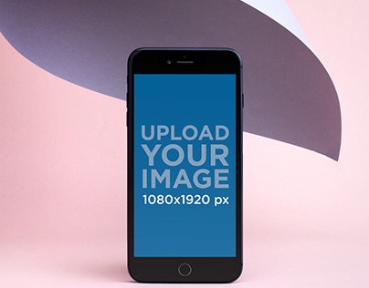 iPhone 8 Plus Mockup Surrounded by Pastel Tones