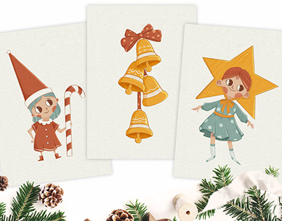 Greeting cards for winter and Christmas holidays