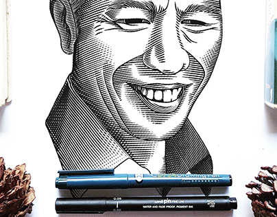 Jokowi Engraving Self Portrait