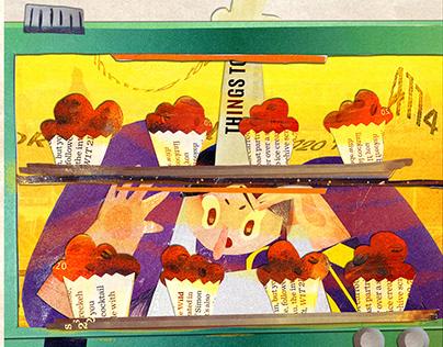 Collage Food 「拼贴」撕书BAR—chocolate Muffin