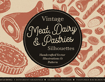 Vintage Meat, Dairy & Pastries Silhouettes