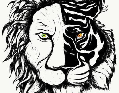 Lion and Tiger Tattoo Illustration