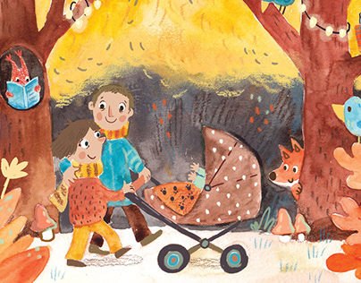 Illustration for baby card