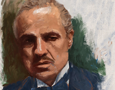 Portrait Painting of The Godfather Don Vito Corleone