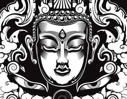 Buddhist-Inspired Vector Illustration
