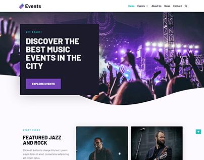 Event, Music, WordPress landing page website