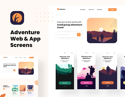 Adventure On boarding Screen & Landing Page