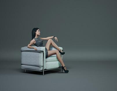 Le Corbusier Chair | 3D Visualization