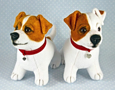 Jack Russell Terriers, handmade soft art toys
