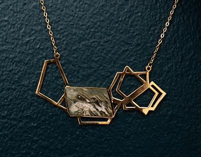 A set of necklaces with semi-precious stones