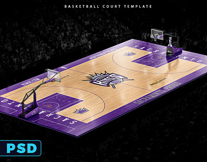 BASKETBALL FULL 3D COURT PHOTOSHOP MOCKUP TEMPLATE