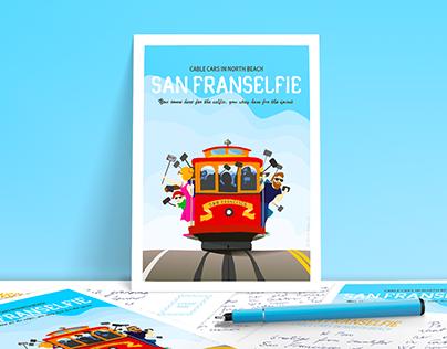 San Franselfie – Hand-Drawn Poster and Postcard