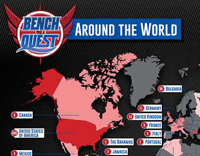 "Fan Map: ""Bench On a QUEST"" around the world."