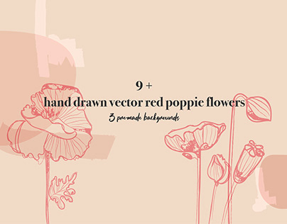 Hand Drawn Red Poppies