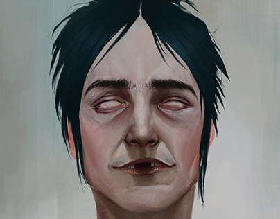 Portrait inspired by Gorillaz's character.