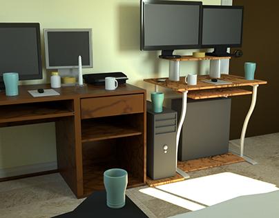 Bedroom. Model, light, surfacing and render