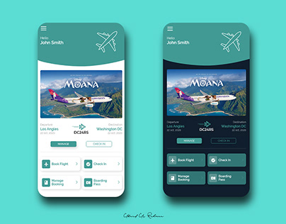 Travelling Application Home Screens