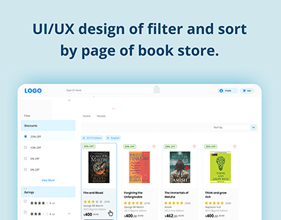 Design of filter and sort by page of book store