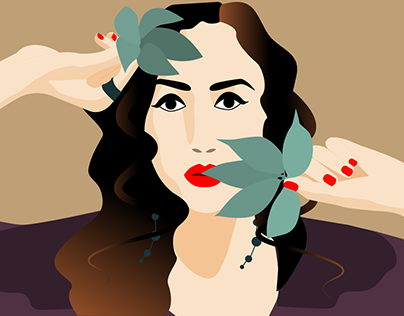 Vector portrait of a girl from a photograph