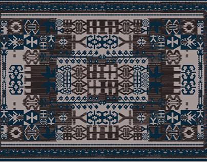 Tribal Moroccan ethnic digital pattern for carpet rug
