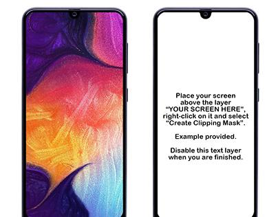 Samsung Galaxy A50 PSD Mockup