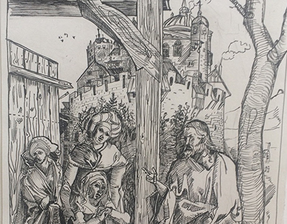 Christ taking leave of his Mother' by A. Durer. Copy