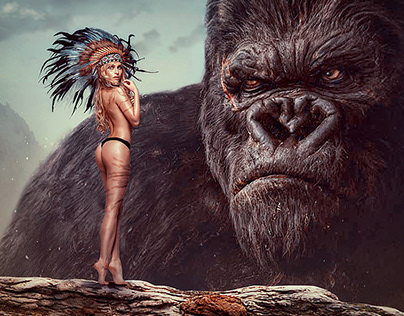 Digital art - King Kong and beautiful girl