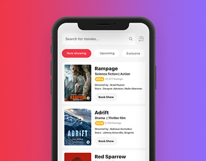 Movie Ticket app design for Iphone x