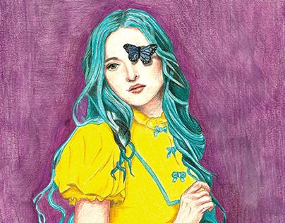 Lady Yellow: Original A4 size Artwork