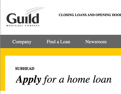 Guild Mortgage | Corporate Website Wireframes