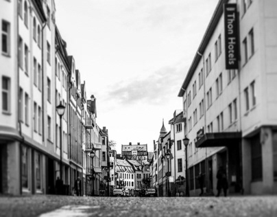 Black and white street photography in Aalesund