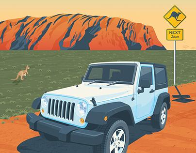 Mount Uluru Ayers Rock Travel Poster City Illustration