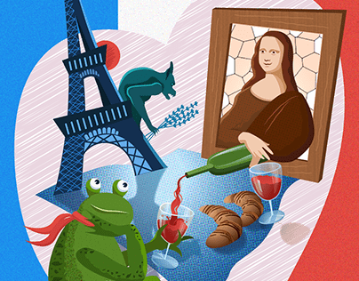 Illustration Mona Lisa drinking wine with frog in Paris