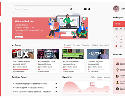 UI Dashboard for an online learning