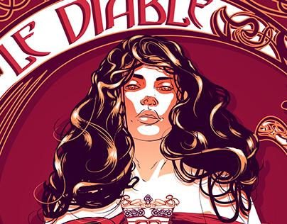 The Devil Keeps Dancing - Art Nouveau Illustration