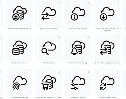 Cloud Server Network Database Synchronization icons