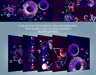 A collection of futuristic space backgrounds vector