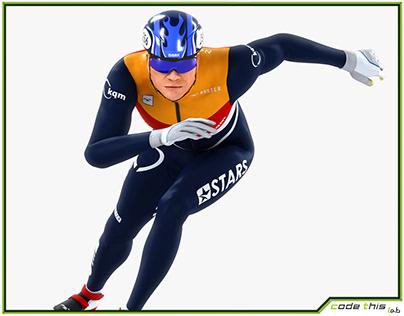 3D Model: Speed Skater Short Track Animated HQ 001