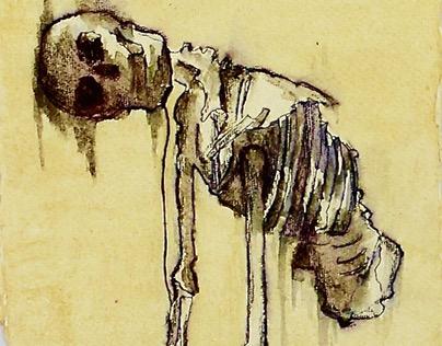 Mixed Media Skeleton Study
