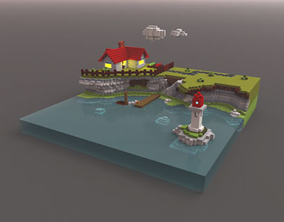 Voxel house with lighthouse